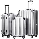 COOLIFE-Hartschalen Fashion Koffer • Alu Rahmen • Polykarbonat Material • Reisegepäck Reisetrolley Trolley • mit TSA-Schloss und 4-Doppelrollen, die 360° drehbar sind (Silver, Koffer-Set)