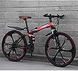 Mnjin Mountainbike Falträder, 26 Zoll 27-Gang Doppelscheibenbremse Vollfederung Anti-Rutsch, Leichter Aluminiumrahmen, Federgabel