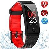 AMOYEE Fitness Armband mit Pulsmesser, Blutdruckmessung Fitness Uhr Wasserdicht IP68 Fitness Tracker mit Pulsuhren Aktivitätstracker Schlafmonitor...