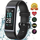KUNGIX Fitness Armband, Fitness Uhr mit Pulsmesser, Schrittzähler, IP68 Wasserdichtes Fitness Tracker mit Angeschlossenem GPS, Activity Tracker Uhr mit 14...