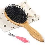 BESTOOL Haarbürste, Wildschweinborsten Haarbürste mit Nylonstiften, Professionelle Bambus Paddel Bürste zur Haarentwirrung und Detangling, Verbesserung der...