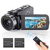 Videokamera Camcorder Vlogging Kamera YouTube Camera HD 1080P 24.0MP 3,0 Zoll LCD 270 Grad drehbarer Bildschirm 16-facher Digitalzoom Kamerarecorder mit 2...