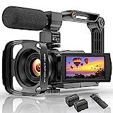 Videokamera Camcorder mit Mikrofon 48MP Vlogging Kamera für YouTube 16X Zoom 3.0'Touchscreen IR Nachtsicht Wi-Fi Vlog Kameras Webcam mit Handstabilisator...