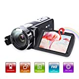 Videokamera Camcorder,Vlogging Kamera HD 1080P 24MP 3,0 Zoll LCD 270 Grad drehbarer Bildschirm 18-facher Digitalzoom Digitaler YouTube Videokamera-Recorder