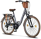 Licorne Bike Violetta (Anthrazit) 28 Zoll Damenfahrrad,CTB ab 160 cm, Fahrrad-Licht, Shimano 21 Gang-Schaltung, Damen-Citybike, Retro, Holland, Amsterdam, Korb,...