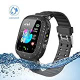 Jaybest Kinder Smartwatch Telefon Uhr,wasserdichte Kid Smart Watch fr Jungen Mdchen mit LBS Tracker SOS Anruf Kamera Anti-Lost Voice Chat (Black)