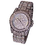 Ouneed Uhren, Luxus Damen Uhren Strass Keramik Kristall QuarzuhrenKleid Uhr (Silber)