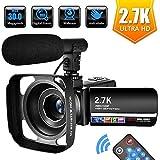 Videokamera Camcorder 2.7K Full HD 30 MP Digitale Videokamera 18X Digital Zoom mit Mikrofon, Fernbedienung und Gegenlichtblende