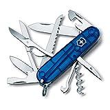 Victorinox Taschenmesser Huntsman (15 Funktionen, Schere, Holzsäge, Korkenzieher) blau transparent