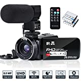 Videokamera Camcorder WiFi IR Nachtsichtgerät FHD 1080P 30FPS YouTube Vlogging Kamerarecorder 26 MP 3,0-Zoll Touchscreen 16 Fach Digitalzoom Camcorder mit...