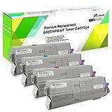 4 Farben Kompatible Tonerkartuschen C542 C532 MC563 MC573 GREENPRINT 7000 Seiten für Schwarz & 6000 Seiten für C M Y Für Oki Okidata Farblaserdrucker C532dn...