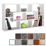 RICOO WM050-W, Wandregal Holz Hell Weiß, Schmal Mini Hänge-Regal, Bücher-Regal für die Wand, Ablage-Fächer, Schwebe-Regal, Stand-Regal, Eck-Regal