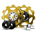 IMPALAPRO Bike 2 Stück Fahrradumwerfer Schaltröllchen Fahrrad Schaltwerk Riemenscheibe 11T Aluminium CNC für Mountainbike (MTB) oder Rennrad - Ultraleicht...