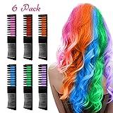 Haarkreide für Mädchen, Nivlan 6 Stück Haarfarbe Kamm, Temporär Haarfarbe Kreide Kamm für Kinder Haarfärbemittel, Party und Cosplay