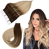 Easyouth Extensions Tape on Echthaar Remy Tape on Haar Mittelbraun Fading to Ash Blonde Mix mit Honey Blonde 18zoll 40g Ombre Tape Extensions Remy Echthaar
