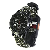 Tentock Multifunktionale Survival Bracelet Watch, Paracord-Uhr im Freien All-in-One for Camping Trekking(weiß)