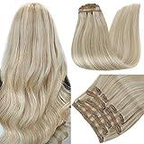 RUNATURE Clip in Extensions Echthaar 50cm 20 Zoll Farbe 18P60 Aschblond Hervorgehoben Platinblond Haarteil Echthaar 100g 9 Stück Haarverlängerung Echthaar
