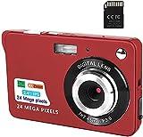 Digitalkamera, 2,4-Zoll-FHD-Taschenkameras Wiederaufladbare 24-Megapixel-Kamera für Rucksacktouren mit 8-Fach Digitalzoom-Kompaktkameras für Fotografie...