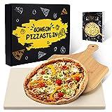 BOMEON Pizzastein für Backofen und Gasgrill, Küchen Zubehör Pizzastein Grill Stein Pizzasschieber - Schamottstein Pizzastein aus Cordierit für Backofen,...