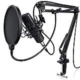 LIAM & DAAN Kondensatormikrofon Mikrofonarm - Studiomikrofon Set - Großmembran Kondensatormikrofon Mikrofonarm und Spinne - Popschutz 2,5m 3,5mm Klinke zu XLR...