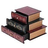 yuyte Holzschatulle, Holztruhe mit 3 Schubladen, Vintage Buch Form Schmuck Aufbewahrungsbox Handgemachte Organizer Display Aufbewahrungskoffer Für Nehmen...