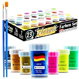 woohoo4u Profi Acryl-Farben Set - 21 Farben je 20 ml Künstlerfarben mit 2 Pinsel inkl. Acrylfarben Metallic Gold, Kupfer, Silber, Glitzer Blau, Neon Farben,...