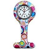 lancardo Uhren,Krankenschwester Armbanduhr FOB-Uhr Damen Taschenuhr Analog Quarzuhr aus Silikon, Mehrfarbig
