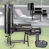 DRULINE 130kg Profi Smoker BBQ Grill Grillwagen Holzkohle 3-5mm Stahl Vertikal + Haube