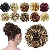 Feshfen Haargummi-Haarteil, für Haarknoten/Pferdeschwanz, Haarverlängerung, gewellt, unordentlicher Haarknoten, Dutt, Hochfrisur, Haarteil, A27 Brown & Blonde...
