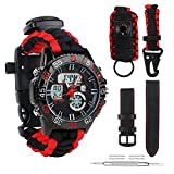 BlueStraw Herren Frauen Survival Analog Digital Uhr, wasserdicht Tactical Dual Time Display Notfall Sports Armbanduhr 5 Zeit Mustern verstellbar 3 austauschbare...