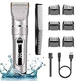 NWOUIIAY Profi IPX7 Elektrische Haarschneidemaschine Akku Herren Haarschneider Männer Haartrimmer Einstellbarer Titan-LCD-Bildschirm mit menschlicher Klinge...