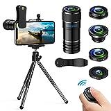 Handy Objektiv Kamera Linse Kit- 5 in 1 Universal Phone Objektiv, 12x Teleobjektiv+0,65x Weitwinkel &12x Makro Objektive+ 180°Fisheye Objektiv+ Starburst...