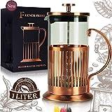Le Flair® French Press für 1 Liter Kaffee - Tee Presskanne aus Glas mit Kupfer ummantelt - Kaffeebereiter inkl. Kupfer Design Verpackung - Pressstempelkanne...