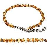 MetalGrand(2025) Bernstein Halsband für Hunde und Katzen mit Metallkette, natürliches Schutzmittel. Bernsteinkette von AmberNeck (20-25 cm)