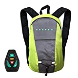 perfecti 15L Rucksack Mit LED Licht Wiederaufladbarer Sicherheitslicht Rucksack Fernbedienung LED Beleuchtung Fahrradrucksack, Nachts Sicher Fahren