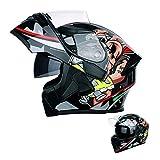 Motorradhelm,Adult Integralhelm Fullface Klapphelm Motorrad Roller Sturz Helm für alle Jahreszeiten, Crosshelm mit Sonnenblende für Downhill Helm mit...