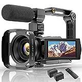 Videokamera 4K WiFi Full Hd Video Camcorder mit Mikrofon YouTube Vlogging Digitalkamera,IR Nacht 48MP16X Digital Zoom 3,0 Zoll 270 ° Drehbarer Touchscreen...