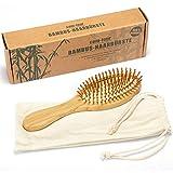 com-four® Natur-Haarbürste aus Bambus - Umweltfreundliche Bürste mit Naturborsten für natürlich schöne Haare - Für Männer, Frauen, Kinder - 100% Vegan...