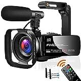 Videokamera Camcorder Full HD 1080P 30FPS 24,0 MP Camcorder HD IR Nachtsicht 3,0 Zoll IPS-Bildschirm 16X Zoom Videokamera HD mit Fernbedienung,externem...