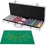 COSTWAY 500 Laser-Chips Pokerset, Poker Komplett Set mit Chips, 2 Spielkarten, 5 Würfel, 3 Händler-Chips und Tischtuch, Kasino Pokerkoffer Aluminium mit 2...