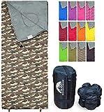 REVALCAMP Camo Schlafsack für Drinnen & Draußen. Toll für Kinder, Jungen, Mädchen, Jugendliche & Erwachsene. Ultraleichte und Kompakte Schlafsäcke sind...