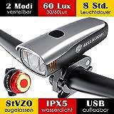 Fahrradlicht LED Set, Fahrradbeleuchtung 60 Lux 2 Leuchtstärke, Fahrradlichter USB Aufladbar, Fahrradlicht Akku Vorne Hinten Fahrrad Licht Frontlicht...