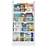 Bücherregal Kinderregal Wandregal Hängeregal Regal mit 4 Ablagen Wandablage Aufbewahrungsregal für Bücher und Deko weiß58 x 12 x 110cm