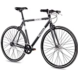 CHRISSON 28 Zoll Retro Rennrad Vintage Bike - Vintage Road N7 anthrazit 56 cm mit 7 Gang Shimano Nexus Nabenschaltung, Urban Old School Fahrrad für Damen und...