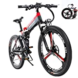 SUSU 26' Electric Mountain Bike 48V14.5Ah400W Faltbare Erwachsener Doppelscheibenbremse Und Fully Fahrrad Smart-LCD-Meter 27 Geschwindigkeit Black+Red