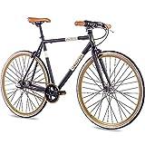 CHRISSON 28 Zoll Retro Rennrad Vintage Bike - Vintage Road N3 schwarz 56 cm mit 3 Gang Shimano Nexus Nabenschaltung, Urban Old School Fahrrad für Damen und...