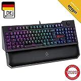 KLIM Vidi Mechanische Tastatur mit Handballenauflage + Ergonomisches, schnelleres Tippen + Rote Schalter Gaming-Tastatur + Multimedia-Steuerung und extra...