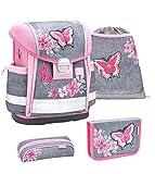 Belmil Schulranzen Set 4 - teilig ergonomischer Schulranzen Mädchen 1. klasse 2. klasse 3. klasse - Super Leicht 860-950 g/Grundschule/Schmetterling/Pink,...