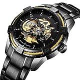 Herren Uhren Automatik Uhr Mechanische Skelett Wasserdicht Armbanduhr mit Edelstahl Metall-Armband