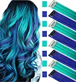 JCM Multicolors Party Highlights Straight Hair Colorful Clip in Synthetic Hair Extensions in Multiple Colors Heat Resistant Long Hairpiece 8PCS (Blue Teal)